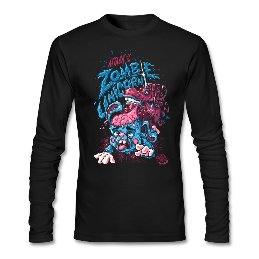 man Personal Designs Tee Shirts Teenage Attack Of The Zombie Unicorn Natural Cotton Horror Theme Quilt T Daily Wear graith - intl