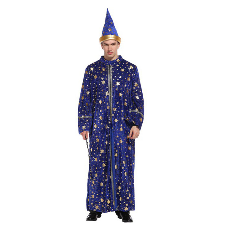 12f887717a6 Details about Halloween Magician Costumes Adult Men Magic Robe Gown Wizard  Costume Blue Star