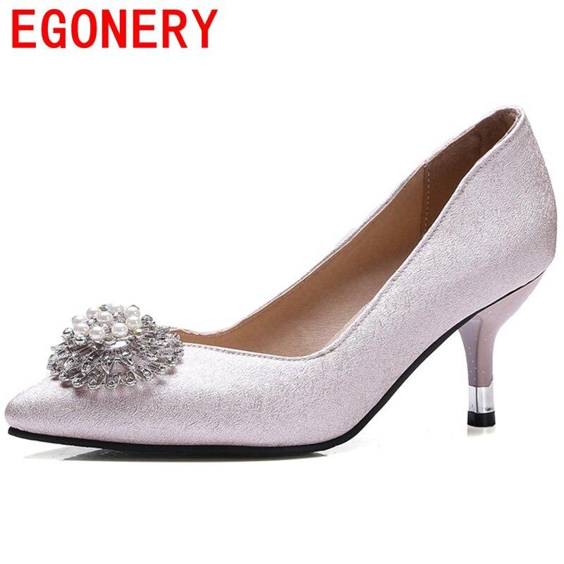 цена EGONERY good quality newest women fashion rhinestone classic slip-on elegant pointed toe high heels 6cm wedding spring shoes онлайн в 2017 году