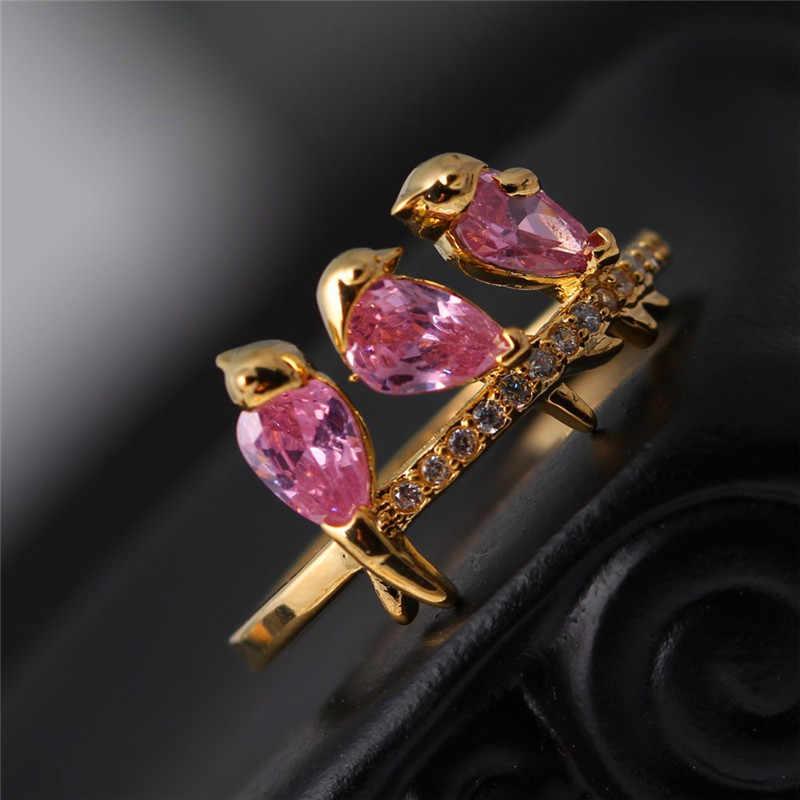 Bamos น่ารัก 4 สีนก Zircon แหวนบางสัตว์แหวนสีเหลืองทองงานแต่งงานสำหรับคู่ของขวัญเพื่อนเจ้าสาว