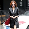 Korean version Splice new leather women  jacket WindbreakerA buckle  long sections Slim leather suit coat