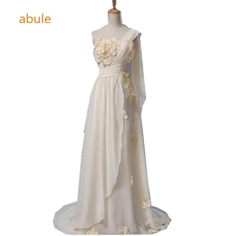 Best Seconds Kill Limited Natural Floor Length Wedding: Abule Romantic Beach Wedding Dress Greek Style Flowers