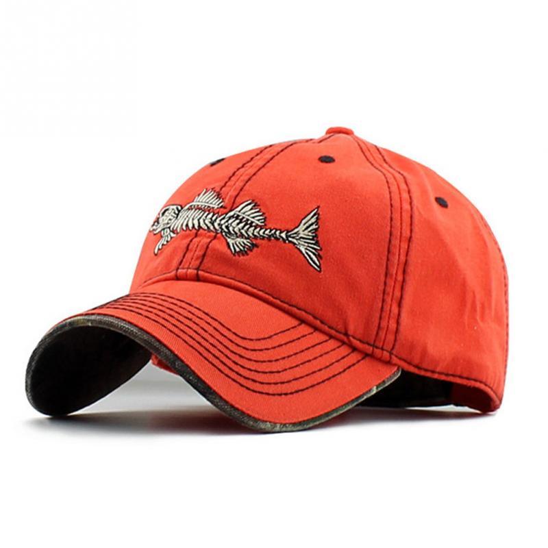 Unisex Embroidery fish Black casual brand baseball hats men fashion adjustable fish bone pattern baseball caps snapback hat 2018