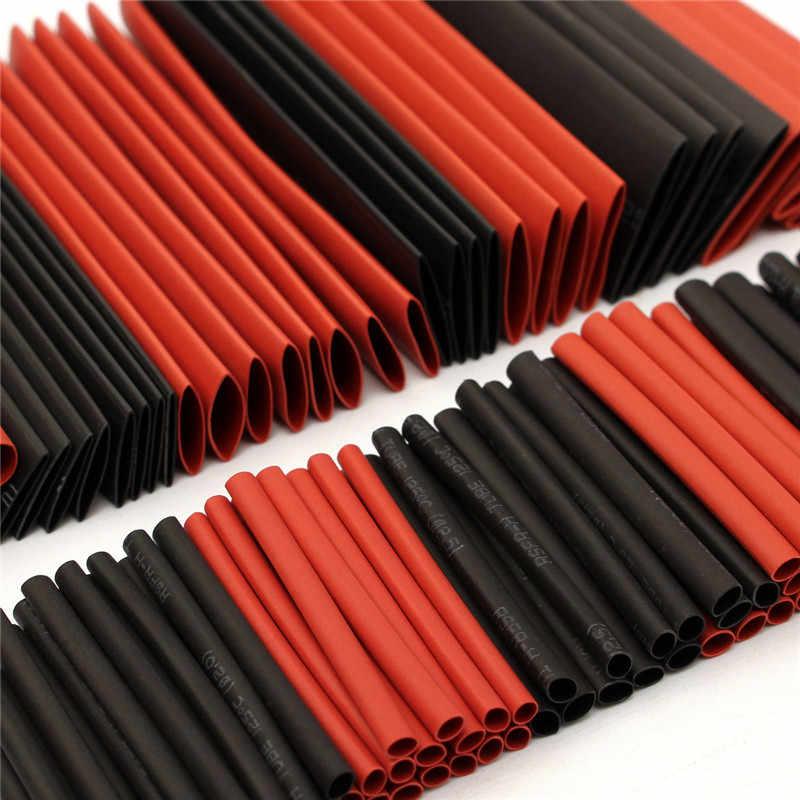 มาใหม่127ชิ้นสีแดงสีดำP Olyolefin 2:1ฮาโลเจนฟรีความร้อนท่อหดหลอดแบ่งประเภทปลอกหุ้มห่อหลอดชุด
