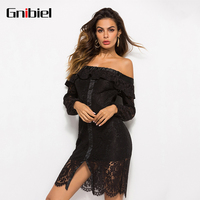 GNIBIEL 2018 New Women Cloth Summer Dress Sexy Off The Shoulder Lace Chiffon Short Dress Long Sleeves Forked Hollow Out Backless