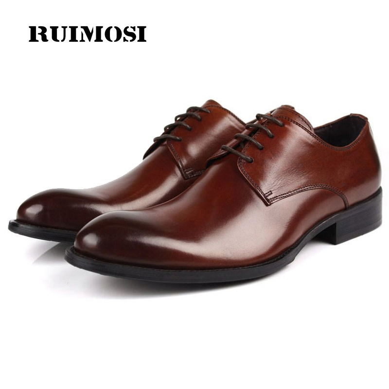 RUIMOSI Elegant Formal Man Dress Shoes Genuine Leather Designer Oxfords Luxury Brand Men's Bridal Wedding Footwear For Male EH44