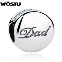 New Fashion 925 Sterling Silver Dad Charm Beads Fit Original Pandora Bracelet Pendant Authentic DIY Jewelry