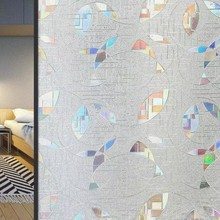 Privacy Window Film Stained Glass sticker Static Cling Frosted Vinyl Films Decorative Color round Pattern Design 45*200cm