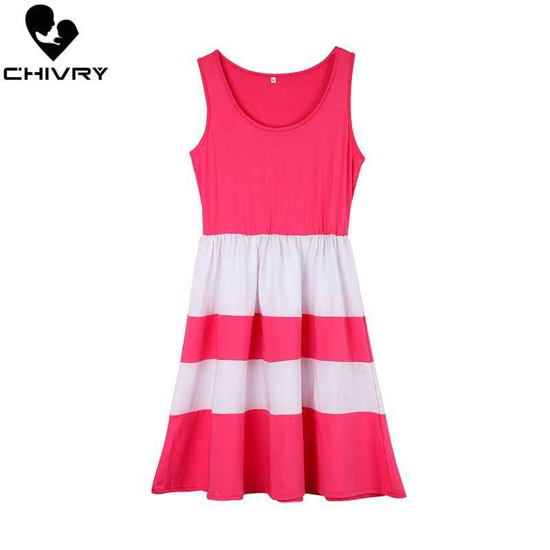 Chivry ใหม่ลูกสาวแม่ฤดูร้อน Sleeveless Patchwork ชุดแม่และลูกสาวชุดครอบครัวชุดเสื้อผ้า