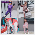 2017 baby girls chothes  spring girl suit children pleuche fleece + trousers two suits