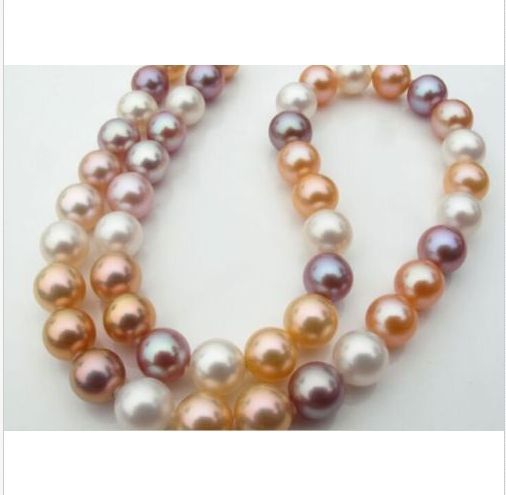9-10mm south sea round white pink purple multicolor pearl necklace18inch 925 silver