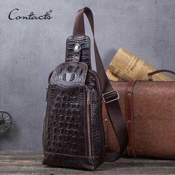 Bolso de cuero genuino de moda de contacto para hombre, bolso de pecho 100% de cuero de vaca, bolsos de hombro para hombre, bolso de mensajero para hombre