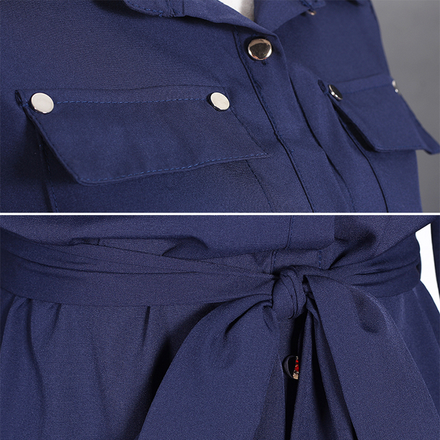 Women Long Sleeve Maxi Dress Autumn 2017 New Fashion Collar Buttons Long Shirt Dresses Open Slit Women Casual Dress Green Blue