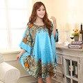 Летний Новый Светло-Голубой Китайский Стиль Шелковый Район Одеяние женщин Сексуальный свободные Главная Платье Винтаж Кафтан Халаты Пижамы Плюс Размер J04