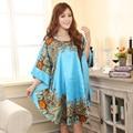 Verão Nova Luz Azul Estilo Chinês Rayon Robe de Seda das Mulheres Sexy solto Vestido Casa Vintage Kaftan Vestido de Banho Pijamas Plus Size J04