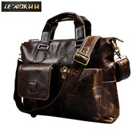 Mens Genuine Crazy Horse Leather Antique Style Briefcases Business 16 Laptop Cases Attache Messenger Bags Tote