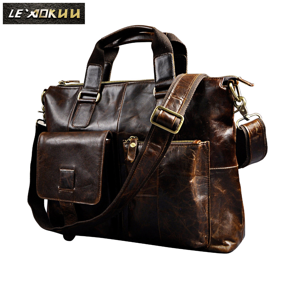 Men Genuine Leather Antique Retro Business Briefcase 15.6 Laptop Case Attache Portfolio Bag One Shoulder Messenger Bag B260
