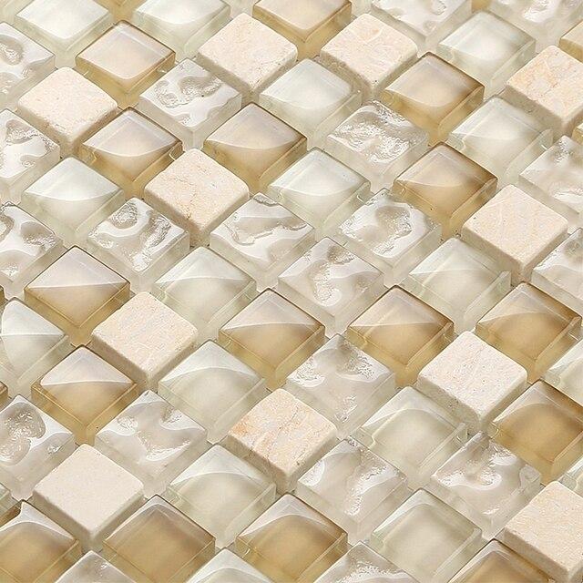Marrone e vetro trasparente pietra beige piazza mosaico misto per la ...