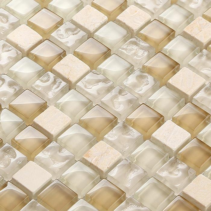 marrn y amarillento mezclado mosaico de piedra de cristal claro cuadrado para azulejos de mosaico azulejo