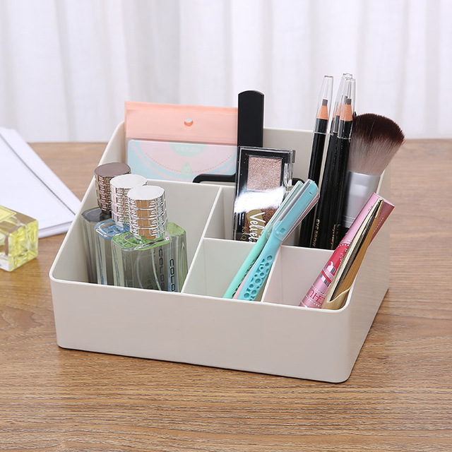 Simple Multi Color Cosmetics Storage Box Dressing Table Desktop Plastic Stationery Skin Care Products Finishing