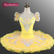 Adult Yellow Classical Ballet Tutu YAGP Professional Pancake With Flower Fairy Costume Dancewear SD0005