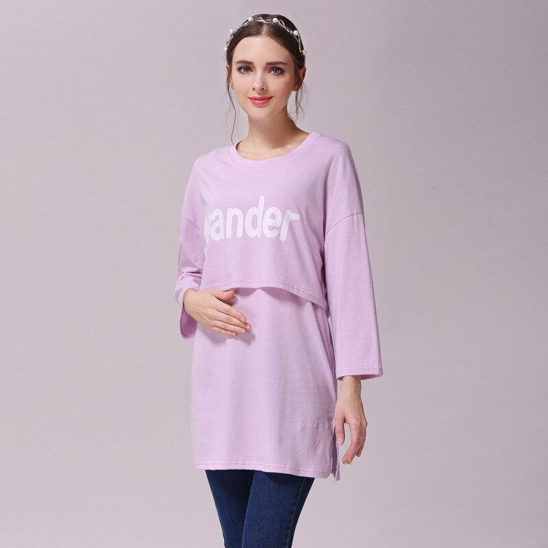 Spring Summer100%Cotton Nursing Clothes T-shirt Letter Purple Three QuarterBreastfeeding Nursing Clothes Maternity Nursing Tops