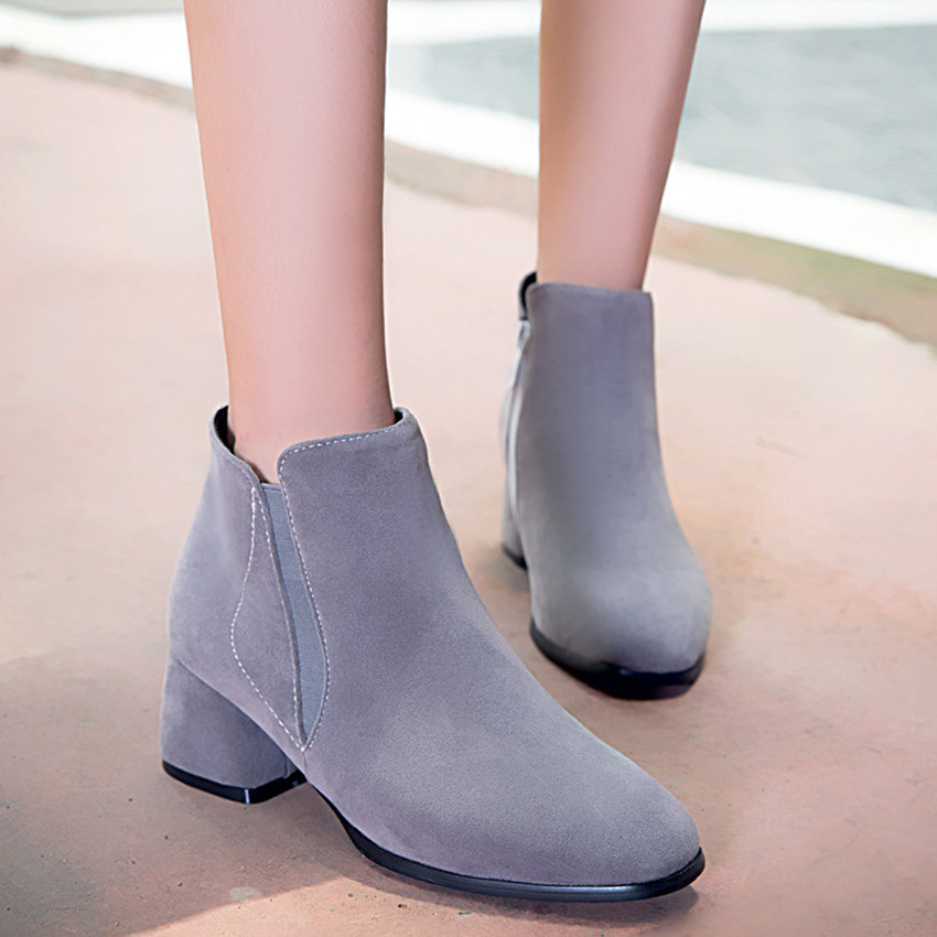 Spring Autumn font b Women b font Ankle Boots Square Med High Heel font b Woman