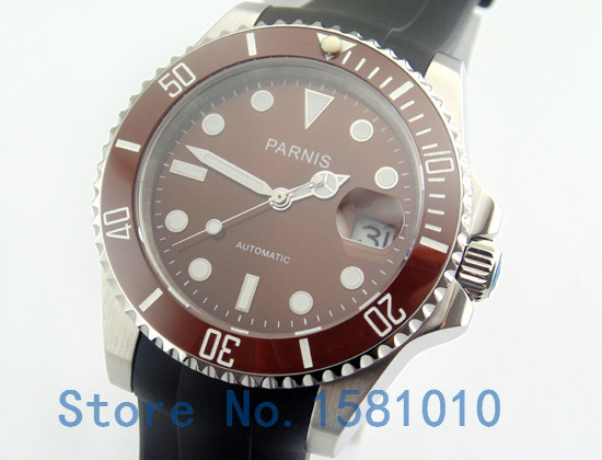 parnis 40mm watches men red dial rubber bands stainless steel case red ceramic bezel sapphire glass automatic menu0027s mechanical watches from