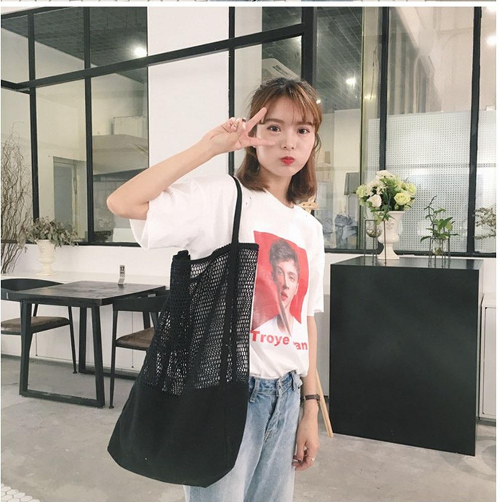 Aelicy High Quality Mesh Beach Bag Shoulder Bags for Woman Large Capacity Shopping Bag Mesh Hollow Designer Handbags Beach Bag