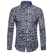 hot deal buy men's shirts single breasted leopard man shirts regular loose fashion full big size men shirts cotton casual shirts