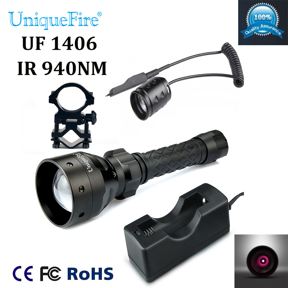 Hot Sale Uniquefire 1406 Zoomable LED Flashlight 940nm IR LED Flashlight+Charger+Scope Mount+Rat Tail For Night Hunting Camping