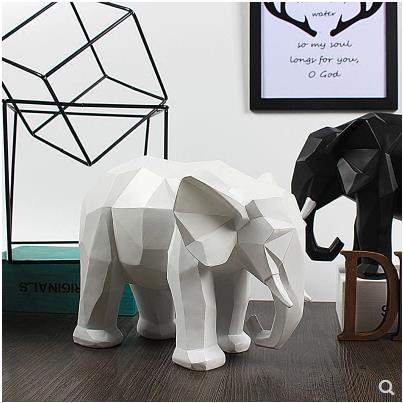 Europeo bianco e nero artigianato elefante, Nordic stile geometrico modello desktop di casa decorazioni, bei regali-in Statuine e miniature da Casa e giardino su  Gruppo 2