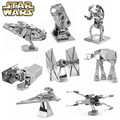 Full Set Star Wars 3D Metal Puzzle For Children Assemble DIY IQ Brain Jigsaw Puzzles X-Wing AT Fighter Educational Kids Toys