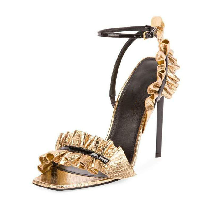 Moraima Snc Leather Sandals 19 New Spring Gold Lotus Leaf Lace Square Toe High Heel Shoes Stilettos Lady Elegant Pumps SandalsMoraima Snc Leather Sandals 19 New Spring Gold Lotus Leaf Lace Square Toe High Heel Shoes Stilettos Lady Elegant Pumps Sandals