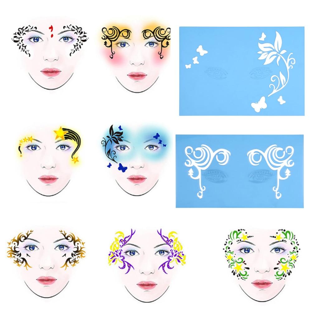 Blesiya 6 Sets Men Women Reusable Face Body Paint Stencil Makeup Template