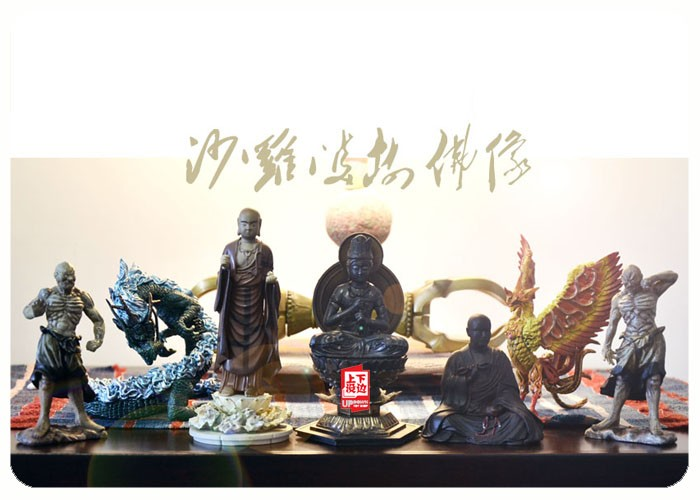 pvc Figure Box egg toys Static Tathagata Buddha Earth Store Bodhisattva / Dragon Suzaku statue Model Decoration 7pcs/set ds 11 china bronze gilded guanyin bodhisattva comfortable kwan yin buddha statue