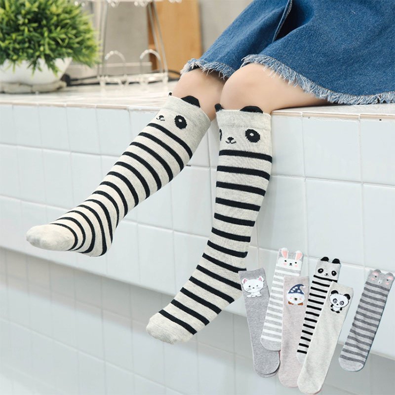 3 Pair Unisex Lovely Cute Cartoon Fox Kids Baby Socks Knee Girl Boy Baby Toddler Socks Animal Infant Soft Cotton Socks 0-6 Y