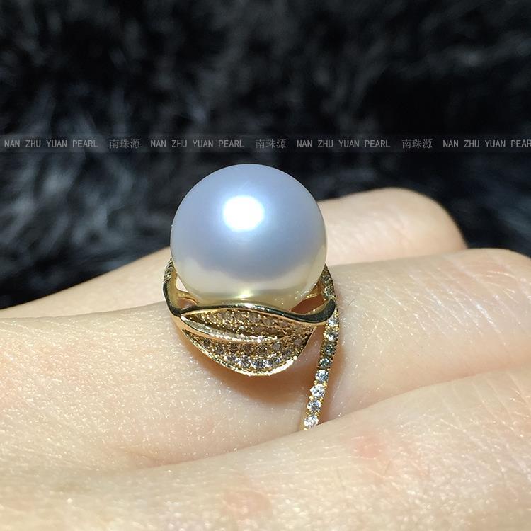 Mariage femmes cadeau mot 925 Sterling réel importation australie Nanyang Gaultheria eau de mer perle anneau carat érable lea