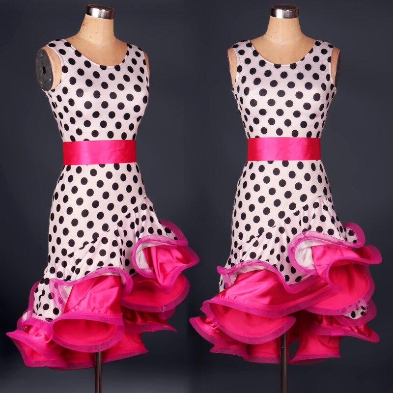 Mulheres Polka Dot rabo de peixe Leopardo Vestido da Dança Vestido Da Dança Moderna Latina Tango/Cha cha/Rumba Competição Vestido