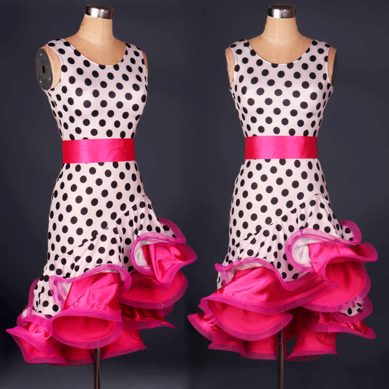 kvinnor Polka Dot fisk svans Latin Dance Dress Leopard Modern Dancing Dress Tango / Cha cha / Rumba Competition Dress