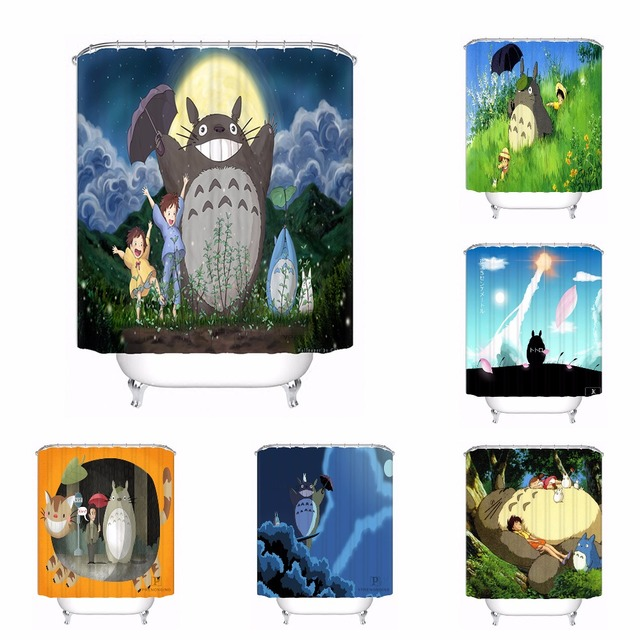 Custom Miyazaki Ghibli Tribute Repetitive Bath Curtain Bathroom Mildewproof Waterproof Polyester Shower Curtain180417 04 47