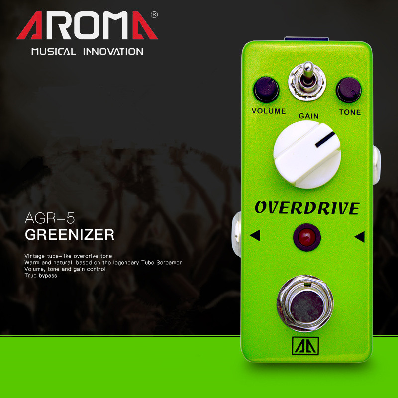 AROMA AGR-5 Guitar Effect Pedal Classic Tube-like Overdrive Guitar Effect Pedal 2 Modes Aluminum Alloy Body True Bypass aroma adl 1 aluminum alloy housing true bypass delay electric guitar effect pedal for guitarists hot guitar accessories