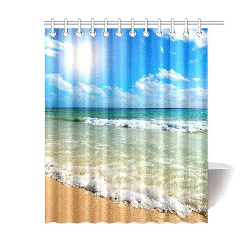 Memory Home Decration Decor Custom Bathroom Curtains Summer Beach ...