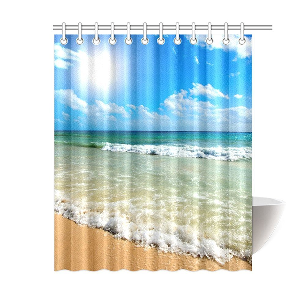 Blue bathroom curtains - Memory Home Decration Decor Custom Bathroom Curtains Summer Beach Blue Sea Palm Tree Sunshine Waterproof Fabric