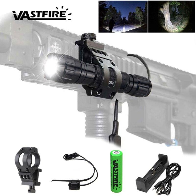 1 Mode 5000lm Q5 LED Tactical Flashlight Torch Hunting Dot Laser Gun Rifle Mount