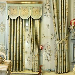 Image 3 - الأوروبي أعلى ضوء الأزرق عالية الجودة الجاكار فيلا الستائر لغرفة المعيشة كريم اللون الفاخرة 3D الجاكار الستار لغرفة النوم