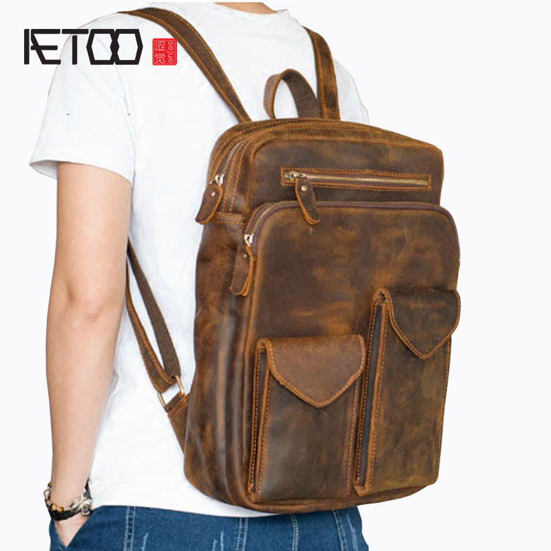 Aetoo Durable Horse Leather Men's Leather Shoulder Bag Travel Backpack Head Cream Leather Bag