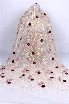 African Noble Design Net Lace Fabric With 3D Applique Guipure Style 3D Flower Embroidery Nigerian Indian Wedding Mesh MaterialF7