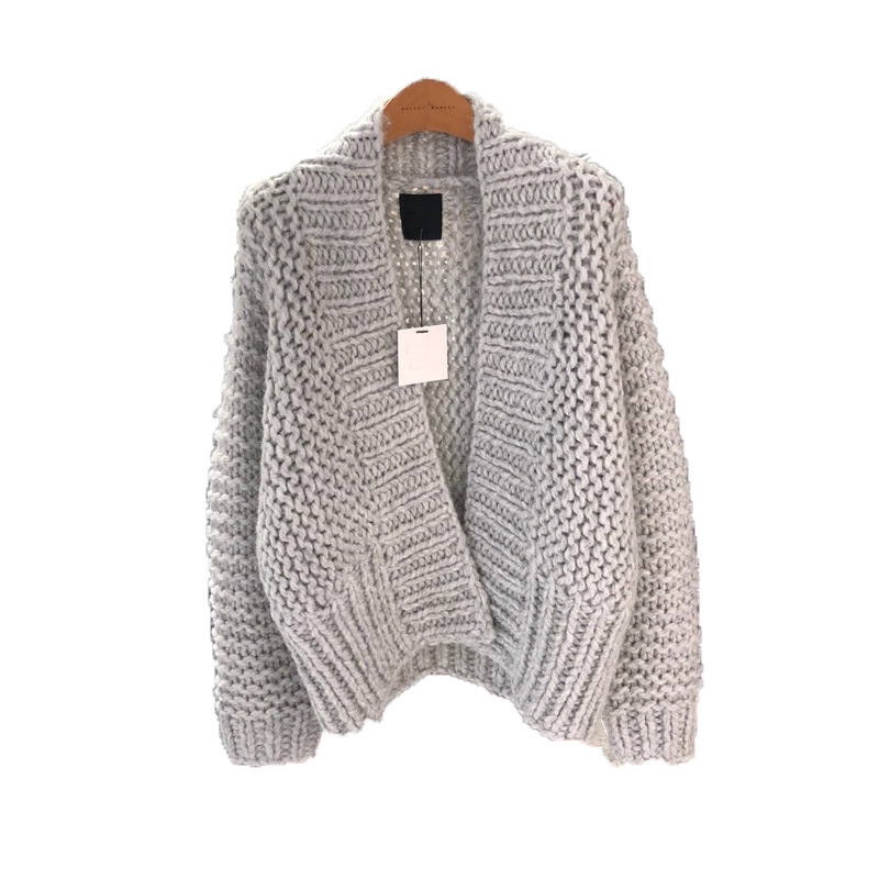 Autumn Winte Women Cardigan Long Sleeve Solid Rib Knitted Coat 2019 Female Keep Warm Sweater Long Open Stitch Coats LT970S50(China)