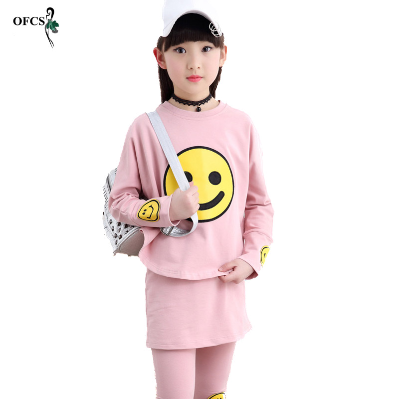 Spring Girls Fashion Cotton Smile Face Print Clothes Suits Child Sports Set Kids Clothing Batwing Shirt Childrens Sets 3-15 Age